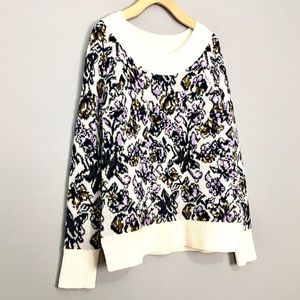 LOFT Mohair and Wool Blend Floral Grandma Sweater